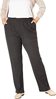 Woman Within Women's Plus Size Petite 7-Day Knit Ribbed Straight Leg Pant