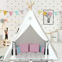 Nature's Blossom Kids Teepee Tent For Indoor and Outdoor Play. Large Tipi with Floor, 5 Poles, Window, Carrying Bag. Pentagon Shaped, Portable Kids TP Playhouse for Boys and Girls. Off-White