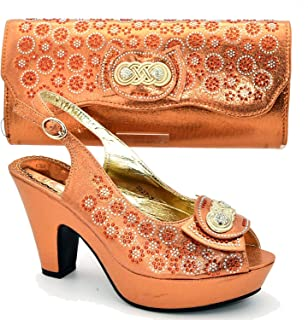 Surprise S Women Shoes and Bags to Match Set Women Shoe and Bag Set Decorated with Rhinestone Ladies Sandals