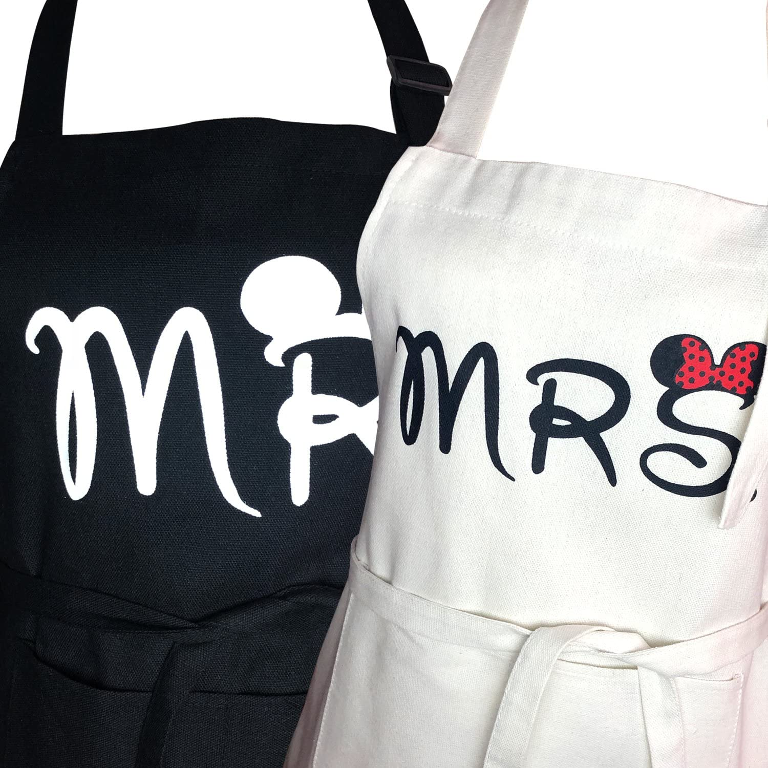 Mr. and Mrs. Couple Aprons Matching Aprons for Wedding 2 Size(Mi