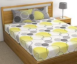 Loreto - A Quality Linen Brand 144 TC 100% Cotton Double Bedsheet with 2 Pillow Covers - White & Lemon Yellow