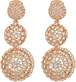 Pave Crystal Dome Drop C Earrings