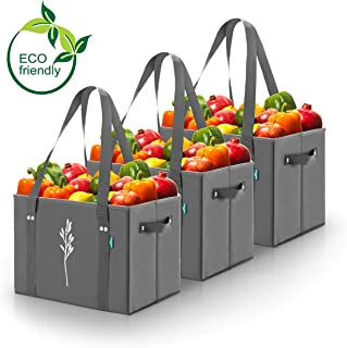 Green BD's Reusable Grocery Bags. Large, Heavy Duty and Spillover Proof. Eco-Friendly Collapsible Shopping Box Bags with Fold Up Reinforced Bottom. (Gray Set of 3)