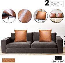 Muscato Leather Pillow Covers, Set of 2 Modern Feaux Leather Pillow Covers for Couch, Sofa, Bed, Bedroom, Living Room, 20x20 Brown