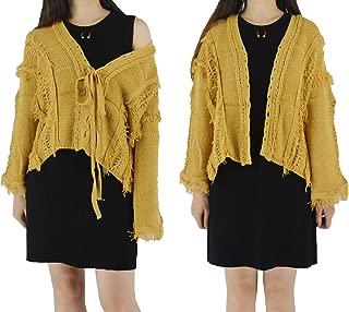 YSJ Women's Hollow Out Tassels Oversized Knit Cardigan Sweaters Top Many Ways to Wear
