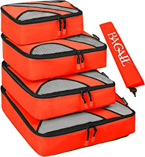 4 Set Packing Cubes,Travel Luggage Packing Organizers with Laundry Bag Orange