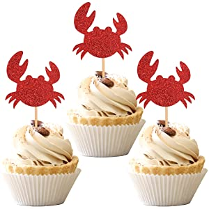 24 PCS Crab Cupcake Toppers Red Glitter Ocean Crab Cupcake Picks Seafood Ocean Animal Theme Baby Shower Kids Birthday Party Cake Decorations Supplies