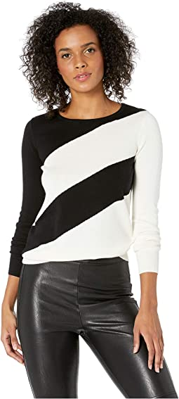 Petite Long Sleeve Ribbed Cuff Asymmetrical Stripe Sweater