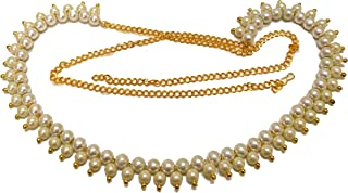 Beaded Traditional Pearl White Kamarband Belly chain for Women
