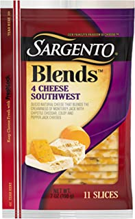 Sargento Blends 4 Cheese Southwest Slices, perfect for your cheeseburgers and exceptional on flatbread, 7 oz Package