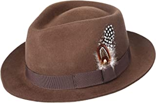 Men's Crushable Wool Felt Outback Safari Fedora Hat with Feather