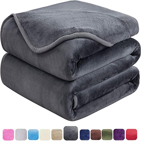 HOZY Soft Queen Size Summer Blanket All Season Warm Fuzzy Microplush Lightweight Thermal Fleece Blankets For Couch Bed Sofa 90x90 Inches Dark Gray