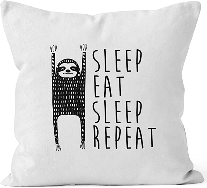 lustiger Kissenbezug Sleep eat Sleep Repeat Faultier 40x40 Baumwolle Moonworks®