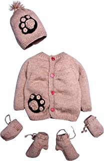 Hand Made 4 Piece Unisex Cute Dog Paws Sweater Lafayette Set for Newborn Toddler Includes- Booties, Mittens & Hat