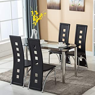 9d23d74f08 Mecor Dining Room Table Set, 5 Piece Glass Kitchen Table and Leather Chairs  Kitchen Furniture