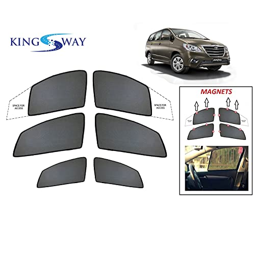 Kingsway kkmmsshf00098 Half Magnetic Sun Shades/Curtains for Toyota Innova Crysta (Black, Pack of 6)