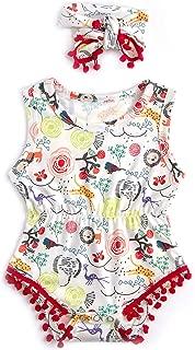 Baby Girls Rompers Newborn Sleeveless One-Pieces Jumpsuits Pom Pom Onesie with Headband 0-18 Months