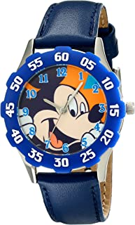 Disney Kids' W001972 Mickey Mouse Analog Watch With Blue Leather Band