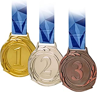 3 Piece Award Medals Set, Olympic Style Medal, Gold Silver Bronze. Made of Strong Premium Metal with V Neck Ribbon - Prize for Events, Classrooms, Office Games and Sports, 1st 2nd 3rd Place