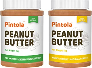Pintola All Natural Peanut Butter (Creamy) (1 kg) (Unsweetened, Non-GMO, Gluten Free, Vegan) + Pintola All Natural Honey P...