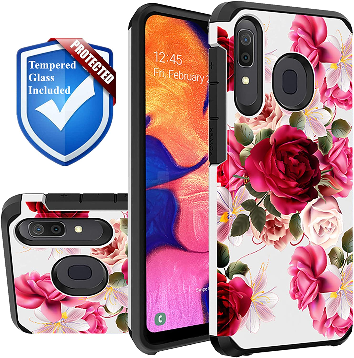 Red Floral Phone Case Compatible for [ Samsung Galaxy A50, Galaxy A30 & Galaxy A20 ] [ Storm Buy ] Shockproof 3D Textured Vibrant Rubber Cover + Screen Protector Tempered Glass