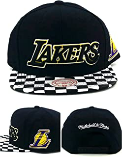 Mitchell & Ness Men's Lakers Checked Visor Snapback Hat