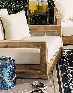 Safavieh CPT1000A Home Collection Montford Teak Couture Armchair Arm Chair, Beige