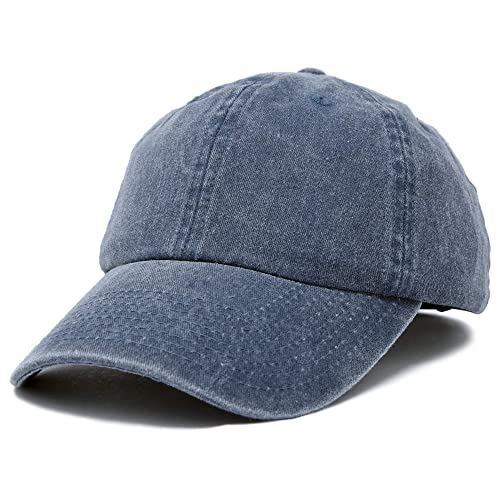 b28be401daf4d8 Mens Vintage Pigment Dyed Washed Cotton Cap Adjustable Hat Black and Navy  Blue