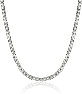 "IGI Certified Brilliant-Cut Diamond 14K White or Yellow Gold Classic Tennis Necklace (H-I Color, I1 Clarity), 17"" - Choice of Carat Weights"