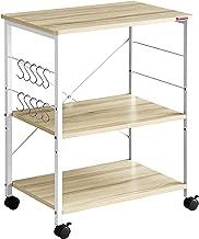 Mr IRONSTONE 3-Tier Kitchen Baker's Rack Utility Microwave Oven Stand Storage Cart Workstation Shelf(Light Beige Top+White Metal Frame)