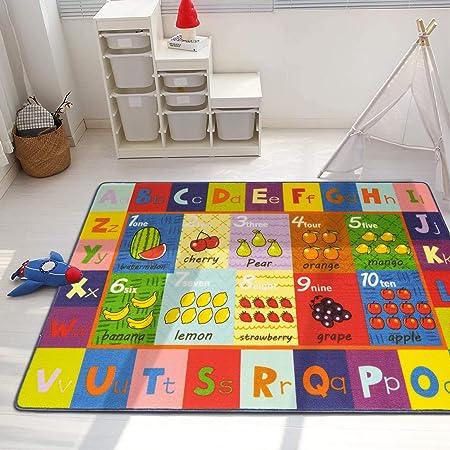 Pauwer - Tappeto educativo per bambini, con retro in gomma antiscivolo, collezione ABC, numeri e frutta, per sala giochi