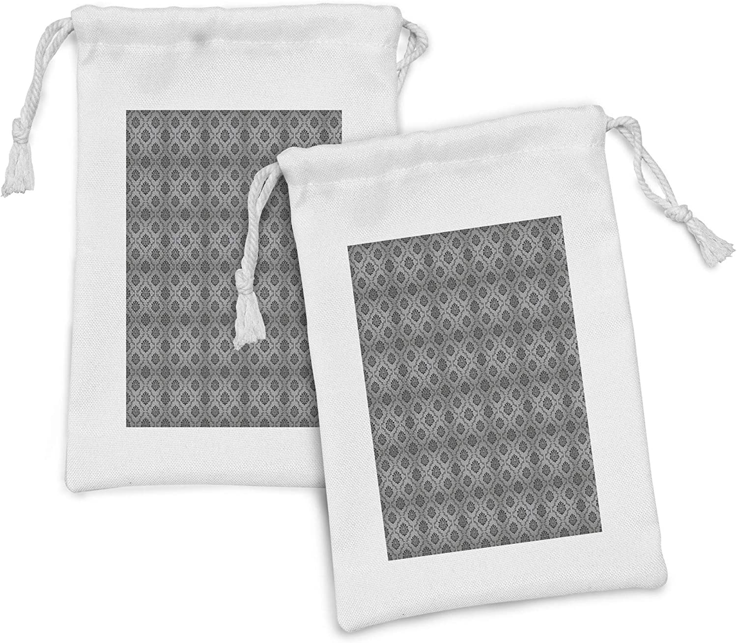 Virginia Beach Mall Ambesonne Damask Grey Fabric Pouch Set Continuous Floral It is very popular of V 2