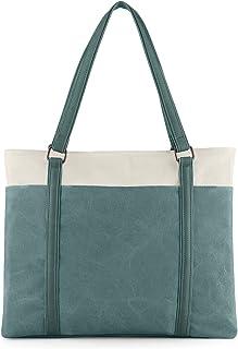 TENDS Women Laptop Tote Bag Fits 14-15.6 Inch Laptop Work Bag Briefcase Lightweight Canvas Handbag - Green