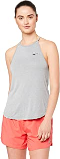 Beige Medium Donna Nike Tank Elastika Stripe Canottiera Sportiva Wheat//Heather//White 790