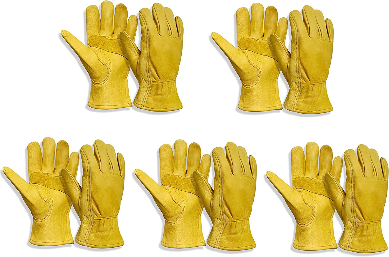Leather Work Gloves Stretchable Max 80% OFF Wrist for Driving Cowhide Glove Superior
