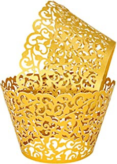 Cupcake Wrappers 100pcs Gold Artistic Lace Cupcake Liners Bake Cake Cups Filigree Muffin Case Trays for Wedding Party Birthday Cake Decoration Supplies Kit