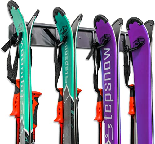new arrival Ski Storage Rack, Wall Mounted, Holds 4 Pairs of Skis & Skiing outlet online sale Poles or Snowboard, for Home wholesale and Garage Storage, Wall Mounted, Heavy Duty, Rubber-Coated Hooks, outlet online sale