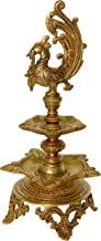 Aakrati Brass Decorative Showpiece Oil Lamp with Peacock - Table Diya Stand - Indian Religious Metal Craft for Gift and Decor