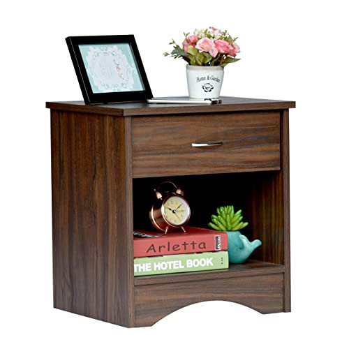 DeckUp Bei Bedside Table and End Table with Storage (Walnut, Matte Finish)