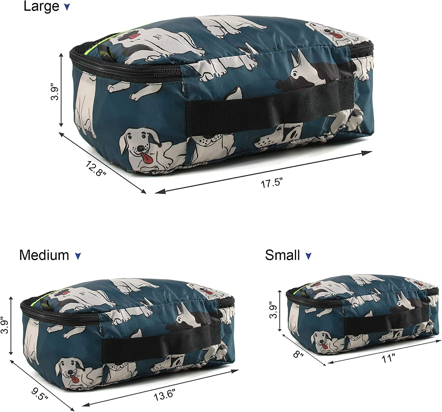 4 Packing Cubes Luggage Bags Organizer Durable Travel Accessories Machine Washable Compression Luggage Packing Bags for Trip Storage Cute Cats Designs