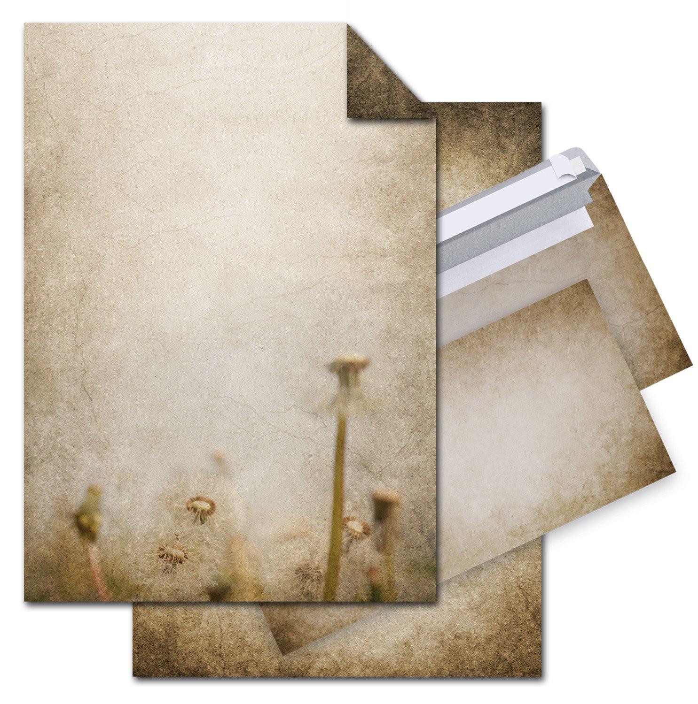 motivo floreale vintage stampato su un lato carta marmorizzata marrone beige formato DIN A4 100 g carta da lettere nostalgia Set di 50 fogli di carta da lettere 50 pezzi