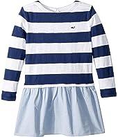 Stripe Oxford Sweatshirt Dress (Toddler/Little Kids/Big Kids)