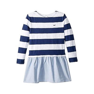 Vineyard Vines Kids Stripe Oxford Sweatshirt Dress (Toddler/Little Kids/Big Kids) (Deep Bay) Girl