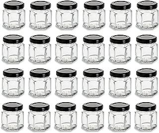 Nakpunar 24 pcs 1.5 oz Hexagon Glass Jars with Black Lids - 45 ml