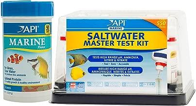 API Marine Bundle Pack: One (1) Saltwater Master Test Kit, One (1) Marine Flakes Fish Food