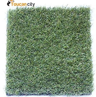 Toucan City Carpet Sample-Trugrass- Color Emerald Gold Artificial Grass 8 in. x 8 in. TE-853673