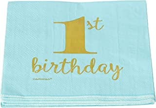 "Amscan 5100003 1st Birthday Premium Blue Hot Stamped Beverage Napkins, Party Supplies, 6.5"" x 6.5"""