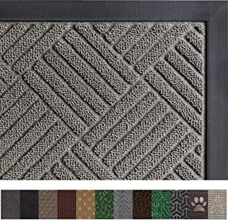 Gorilla Grip Original Durable Rubber Door Mat, 35 x 23, Heavy Duty Doormat for Indoor Outdoor, Waterproof, Easy Clean, Low-Profile Rug Mats for Entry, Patio, High Traffic Areas, Gray Diamond