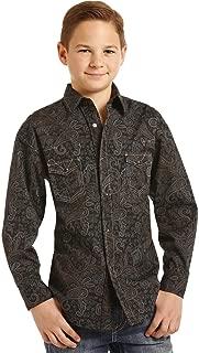 Rock & Roll Cowboy Boys Poplin Paisley Print Long Sleeve Snap Shirt