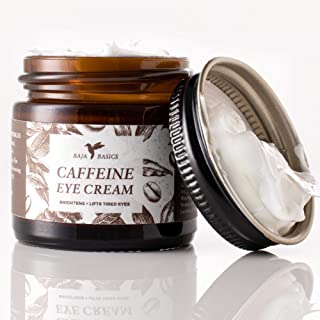 Caffeine Eye Cream by Baja Basics, Reduces Puffiness & Dark Circles, Perks Up Tired Eyes, Anti Aging, Moisturizer for Dry Skin, Collagen Boost, Anti Wrinkle, Toxin Free, Natural Skincare 1oz